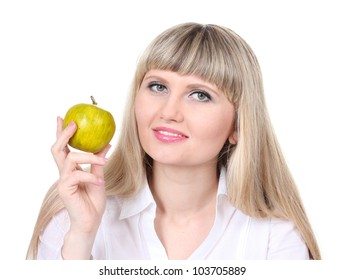 Beautiful young girl holding green apple isolated on white