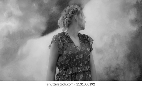 Beautiful young girl like in smoke