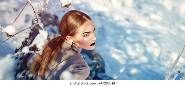 Beautiful young girl in a long winter dress in the snow.Winter, snow, stylish clothes, cold, hairstyle, makeup, sunset, nature, new year, christmas.