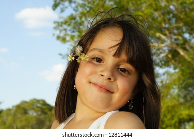 Beautiful Young Girl with Nature Background
