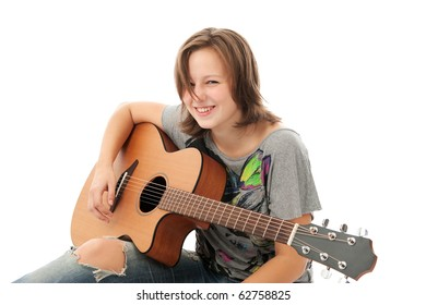 Beautiful Young Girl playing guitar