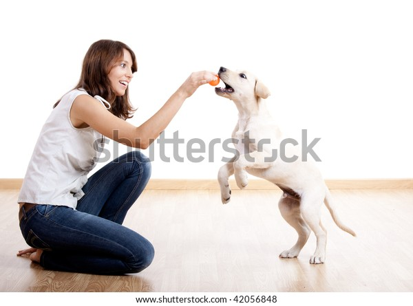 Beautiful young girl playing with a nice cute dog