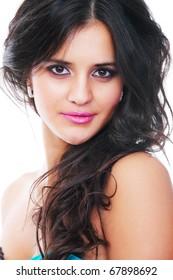 Beautiful young girl posing, nice make up, beautiful eyes and lips