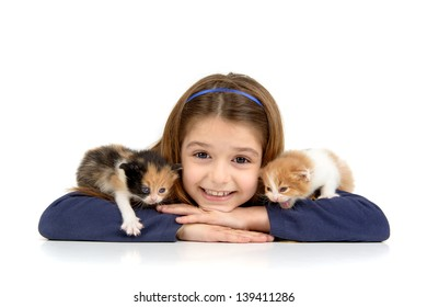 Beautiful young girl posing with two lovely young cats