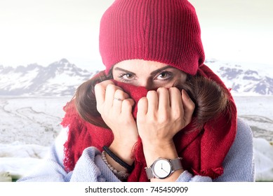 Beautiful young girl posing with winter clothes