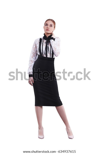 Beautiful young girl secretary in office concept suit