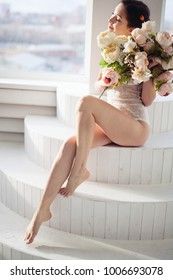 Beautiful young girl showing clean legs. depilation smooth clear skin.