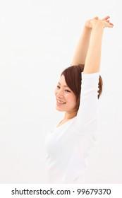 beautiful young girl stretching