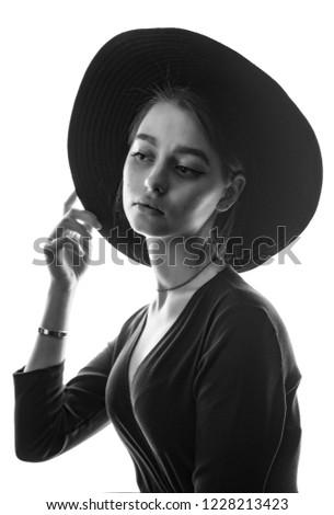 Beautiful Young Girl Stylish Felt Hat Stock Photo (Edit Now ... c9bcd2e51bae