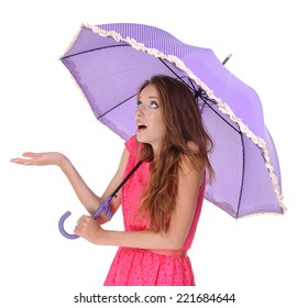 Beautiful young girl with umbrella isolated on white