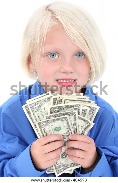 Beautiful young girl wearing large man's shirt with a handful of money.
