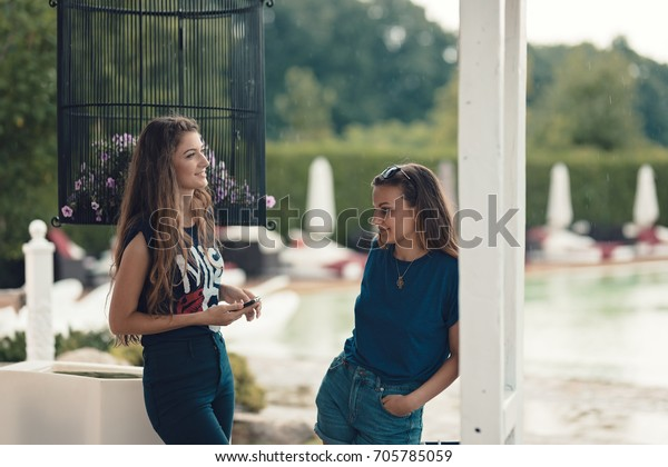 Beautiful Young Girls Having Funny Moments Stock Photo (Edit