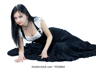 Beautiful young Gothic Girl isolated on white