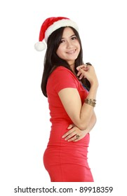 Beautiful Young Happy Christmas Woman over white background