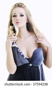 beautiful young happy woman with vine glass ready for party and drink