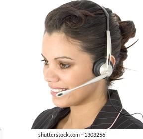 Beautiful young Hispanic customer service rep.