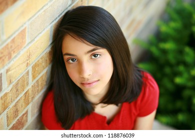 beautiful young hispanic preteen girl