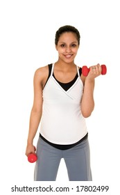 Beautiful young, Hispanic woman in a fitness workout using hand weights to keep herself physically fit during her pregnancy.  Shot on white background.