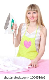 Beautiful young housewife with iron isolated on white