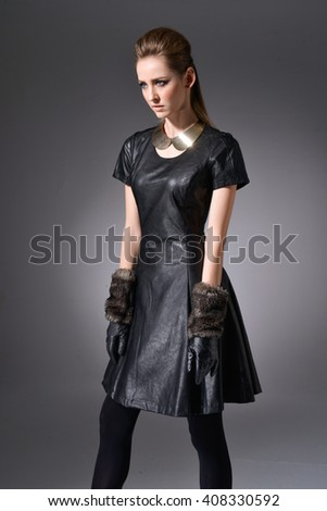 Beautiful Young Lady Black Dress Gloves Stock Photo Edit Now