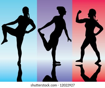 beautiful young lady doing a fitness workout illustration