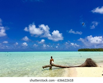 Beautiful young lady sitting on a dead palm tree at the beach of Marlon Brando's atoll Tetiaroa, Tahiti, French Polynesia