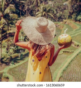 Beautiful young lady in vogue dress and straw hat drink coconut. Girl travel typical Asian hillside with rice farming, mountain shape green cascade rice field terraces paddies. Ubud, Bali, Indonesia.