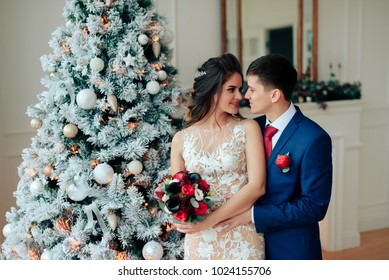 Beautiful young loving wedding couple in new year interior