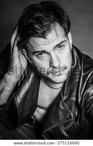 Beautiful Young Man Leather Jacket Stock Photo Edit Now 575116060