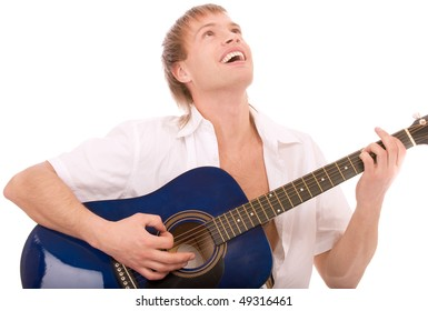 Beautiful young man plays guitar, isolated on white background.