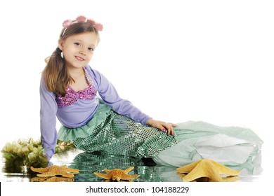 A beautiful young mermaid with a watery reflection among starfish and seaweed.  On a white background.