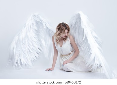 beautiful young model with big angel wings sitting in the studio. white background