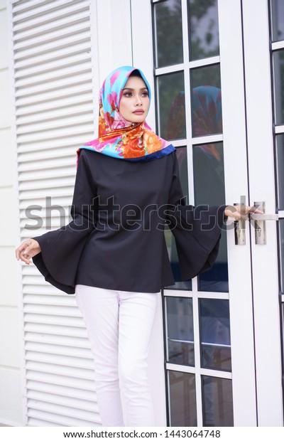 Beautiful Young Model Fashionable Hijab Style Stock Photo
