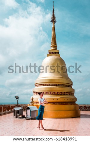 Beautiful young model greeting pose namaste stock photo edit now beautiful young model with a greeting pose namaste at the top of the buddhist temple m4hsunfo