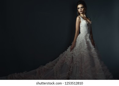 Beautiful young model with perfect make up and and scraped back hair wearing luxurious fluffy wedding dress with long train. Isolated on dark grey background. Text space. Studio shot