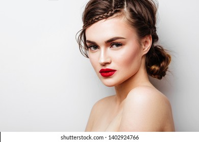 Beautiful young model with red lips copy space