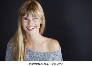 Beautiful young model, smiling