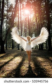 beautiful young model with white angel wings outdoors. Concept of magic and innocence