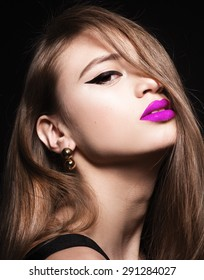 Beautiful young model woman with pink lips and shine hair