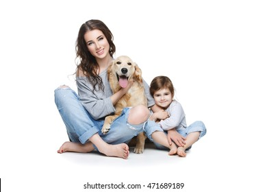 Beautiful young mother with little daughter