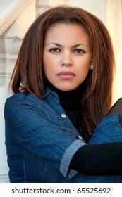 beautiful young mulatto woman  portrait outdoor