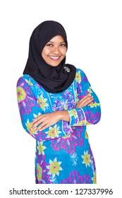 Beautiful young Muslim Malay woman in blue dress