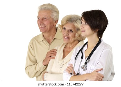 Beautiful young nice nurse with elderly on a light background