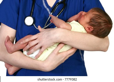 Beautiful young nurse holding newborn baby over white background.