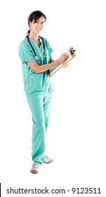 Beautiful young nurse with a stethoscope and clipboard