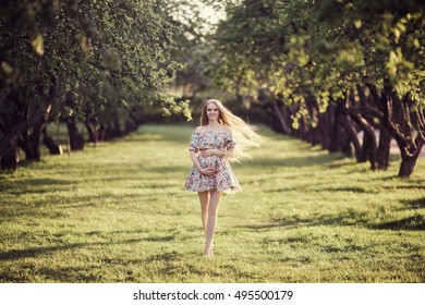 beautiful young pregnant girl in the Park