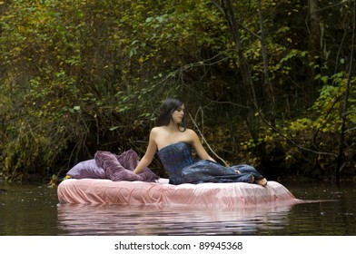 Beautiful Young Princess Awakens in Woodland Stream