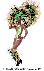 Beautiful young samba dancer in stage costume
