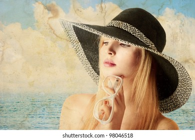 Beautiful young sexy blonde woman in sun hat old portrait