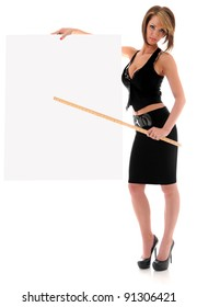 Beautiful young sexy woman holding empty white board pointing with a yard stick